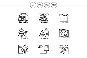 Camping elements line icons. Set 1