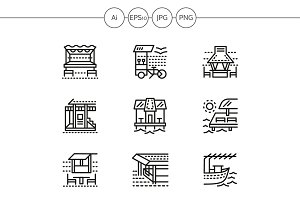 Cafe and bungalows line icons. Set 1