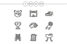 Physical education line vector icons