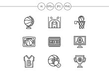 Basketball line vector icons. Set 1