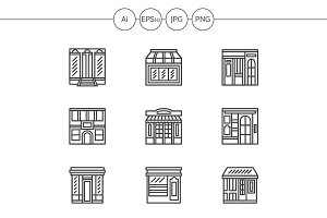 Store and cafe line icons. Set 1
