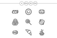 Candies and cakes line icons. Set 1