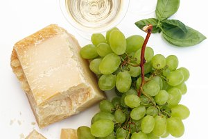white Wine,Grapes and Parmesan