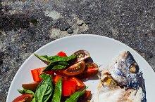 Salad with fresh Tomato and Basil