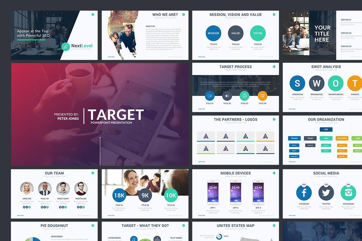 Target powerpoint template presentation templates creative market toneelgroepblik Images