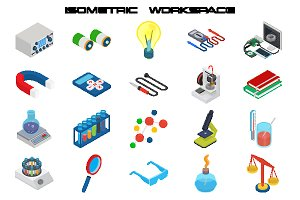 Science isometric icon set