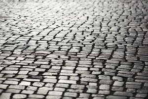 Stone pavement texture in perspective
