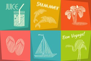 Travel Chalk Icons Set