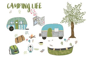 Camping Clip Art and Illustrations