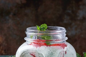 Yogurt with mint and cherry