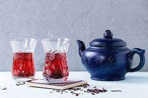 Glasses of hibiscus tea