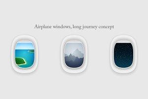 Airplane windows, vacation journey