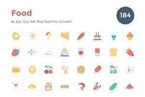 184 Flat Food Icons