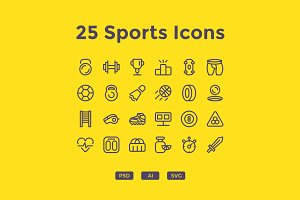25 Outlined Sports Icons
