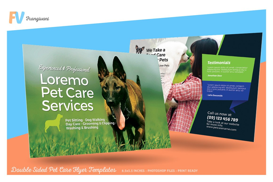Double sided pet care flyer template flyer templates for Double sided brochure template