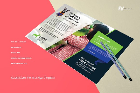 Double Sided Pet Care Flyer Template Flyer Templates Creative Market