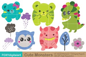 Cute Monster Clipart & Digital Paper