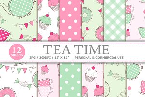 Tea Time Digital Paper