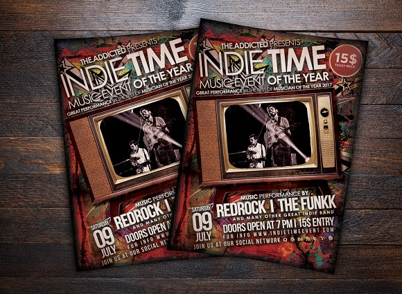 Indie Time Music Flyer-Graphicriver中文最全的素材分享平台