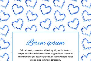 Card background with blue hearts