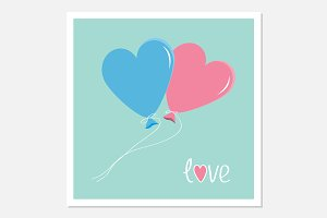 Blue and pink heart shape balloons
