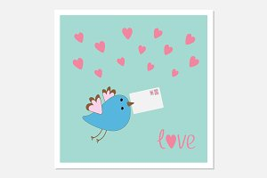 Flying bird with letter and hearts