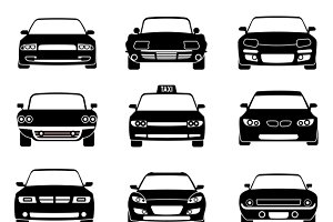 Cars in front view black icons