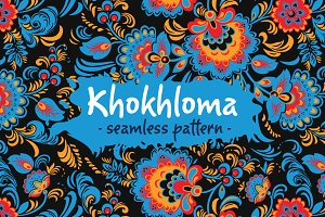 Folk Khokhloma patterns