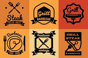 Barbecue party vector emblems
