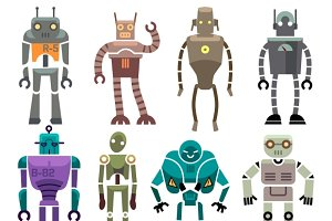 Vintage vector robot characters