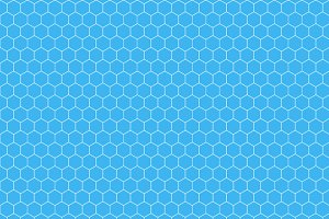 White hexagon grid on cyan