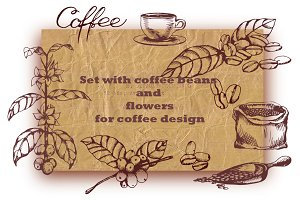 Set with Coffee beans&flowers.