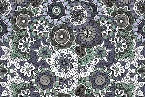 Ornate seamless flowers background