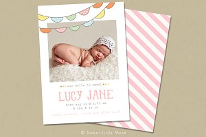 Girl Birth Announcement template