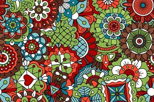 Seamless pattern with dec flowers