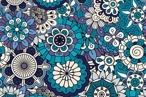 Various blue flowers seamless back