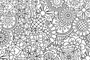 Hand drawn hearts floral pattern