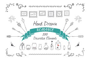 Hand drawn decorative elements set