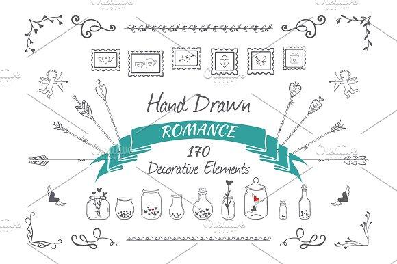 Hand drawn decorative elements set