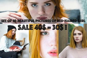 Set of 40 photos of red-haired girl