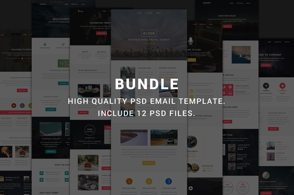 Modern Bundle - Include 12 PSD email ~ Email Templates ~ Creative Market