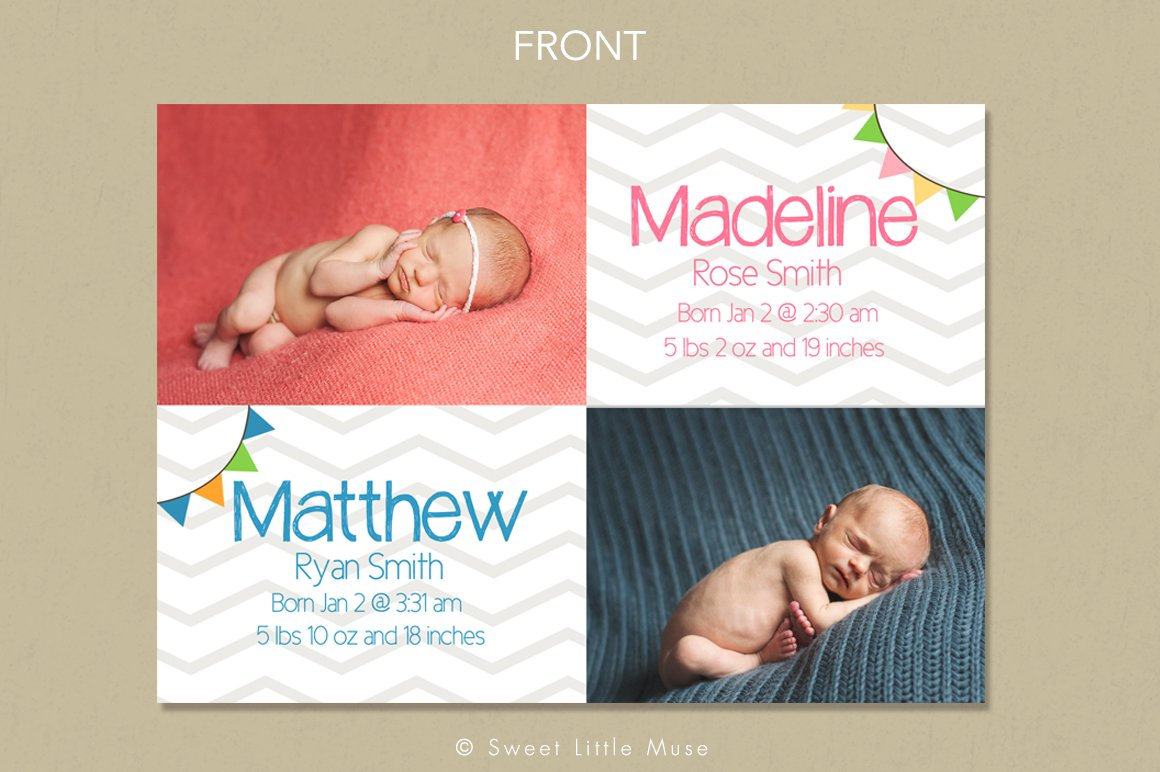 twins birth announcement template card templates creative market. Black Bedroom Furniture Sets. Home Design Ideas