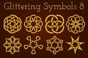Golden glittering symbols #8