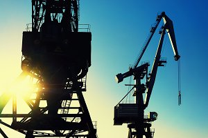 Cranes at the port. Riga