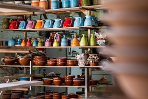 Jugs sorted in a ceramist workshop