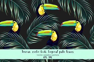 Toucan,palm leaves pattern