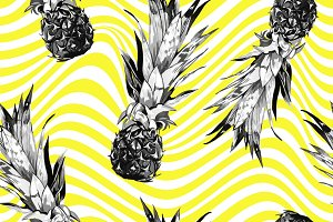Pineapples abstract seamless pattern