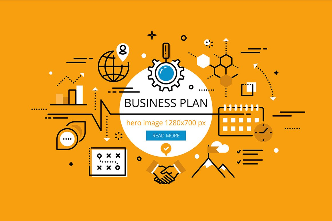 Business Plan Hero Banners Web Elements Creative Market