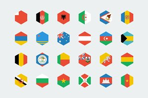 Hexagon world flags