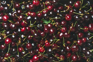 Background of red sweet cherries